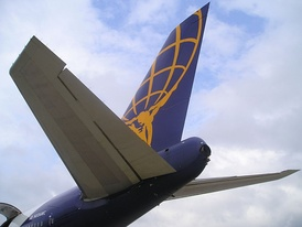 The empennage of a Boeing 747-200