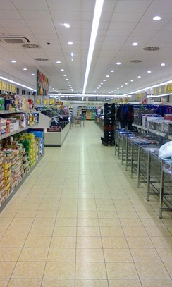 The inside of an Aldi Süd store in Hungary