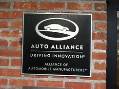 In Washington, DC, the Alliance of Automobile Manufacturers Plaque on their HQ.