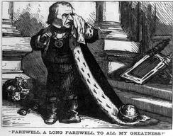 """Farewell, a long farewell, to all my greatness!"": Harper's Weekly cartoon mocking Johnson on leaving office"