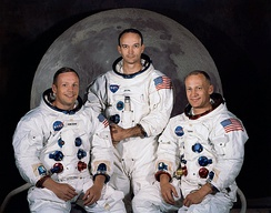 Apollo 11 crew, who made the first manned landing: Commander Neil Armstrong, Command Module Pilot Michael Collins, and Lunar Module Pilot Buzz Aldrin