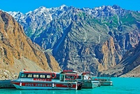 A boat in Attabad Lake