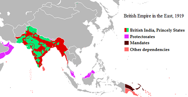 The British Empire in the East, 1919, showing the princely states coloured green, British India coloured red