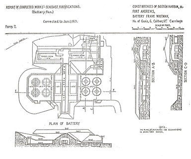 This later plan for Battery Whitman at Ft. Andrews enlarged the pits and kept only half of the original battery.