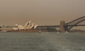 Bushfire smoke over the Sydney Opera House and Sydney Harbour Bridge on 29 December