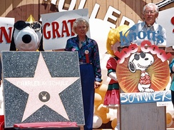Schulz receiving his star on the Hollywood Walk of Fame at Knott's Berry Farm in June 1996