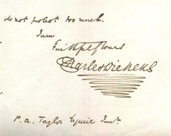 Dickens's signature from a letter, incorporating his personal flourish