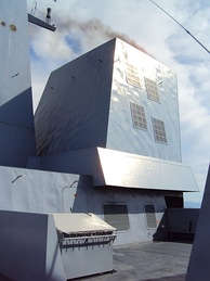 Detail of the Forbin, a modern frigate of the French navy. The faceted appearance reduces radar cross-section for stealth.