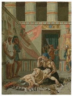 A late 19th-century painting of Act IV, Scene 15: Cleopatra holds Antony as he dies.