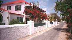 A street in Cockburn Town, the capital of the Turks and Caicos Islands