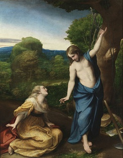 Mary Magdalene calling Jesus Rabboni and receiving the response: Noli me Tangere, depicted by Antonio da Correggio, circa 1534.