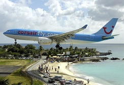 Corsairfly Airbus A330-200 on short final over Maho Beach