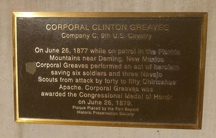 Memorial to Medal of Honor recipient Corporal Clinton Greaves, 9th US Cavalry, at Fort Bayard, New Mexico