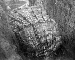 Columns of Hoover Dam being filled with concrete, February 1934 (looking upstream from the Nevada rim)
