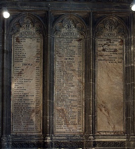 Inscribed panels in Canterbury Cathedral, listing the Deans of Canterbury