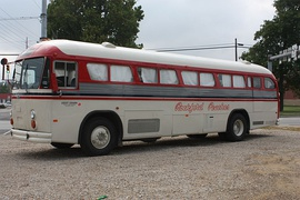 1980s Crown Supercoach restored, painted to match the bus from A League of Their Own