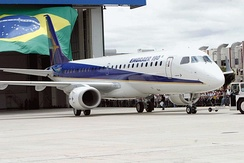 The airplane Embraer 190 produced by Brazilian aircraft company Embraer.