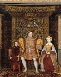 Jane Seymour (left) became Henry's third wife, pictured at right with Henry and the young Prince Edward, c. 1545, by an unknown artist. At the time that this was painted, Henry was married to his sixth wife, Catherine Parr.