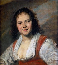 Frans Hals' tronie, with the later title Gypsy Girl. 1628–30. Oil on wood, 58 cm × 52 cm (23 in × 20 in). The tronie includes elements of portraiture, genre painting, and sometimes history painting.