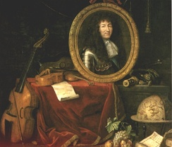 Painting from 1667 depicting Louis as patron of the fine arts