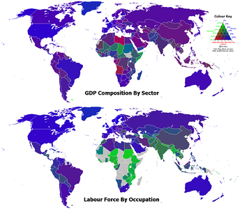 2006 GDP composition of sector and labour force by occupation. The green, red, and blue components of the colours of the countries represent the percentages for the agriculture, industry, and services sectors respectively.