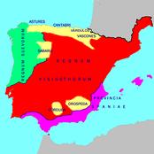 Германские королевства в Иберии на 560 год, красная территория— вестготов, зелёная— свевов.