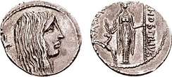 Denarius from 48 BC, thought to depict an allegory of Gaul with a carnyx on the obverse and Diana of Ephesus with a stag on the reverse
