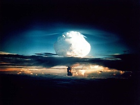 The mushroom cloud from the Mike shot, developed by United States Atomic Energy Commission