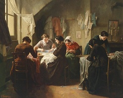 Jean-Baptiste Jules Trayer, Breton seamstresses in a shop 1854). Prior to the Industrial Revolution, a seamstress did handsewing.