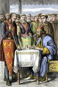 Barons forced King John of England to sign the Magna Carta laying early foundations for the evolution of constitutional monarchy.
