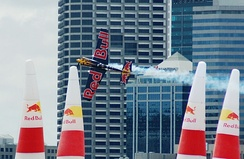 Kirby Chambliss racing in the Red Bull Air Race World Series