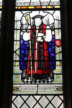 Lancelot Andrewes memorial stained glass window in the cloister of Chester Cathedral