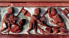 Lithuanians fighting with Teutonic Knights (14th-century bas-relief from the Castle of Marienburg)