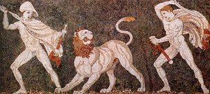 Alexander (left), wearing a kausia and fighting an Asiatic lion with his friend Craterus (detail); late 4th century BC mosaic,[169] Pella Museum