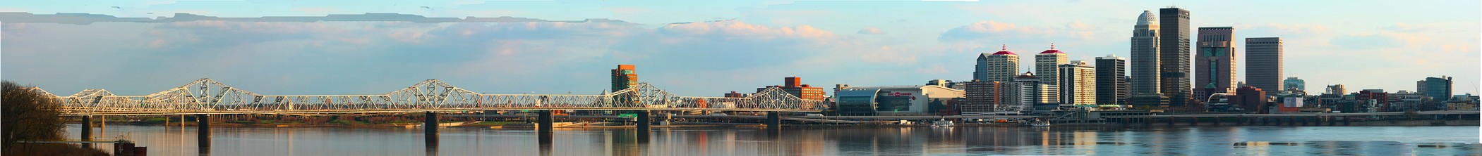 Louisville Panorama from Jeffersonville, Indiana. Second St Bridge on the foreground