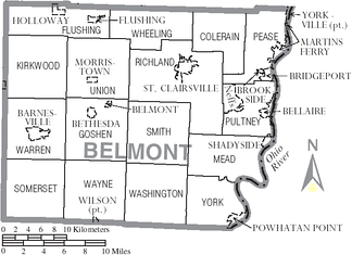 Map of Belmont County, Ohio With Municipal and Township Labels