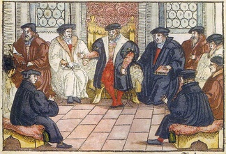 The Marburg Colloquy (1529) was an early attempt at uniting Luther and Zwingli. It failed as both reformers and their delegations could not agree on the sacrament of the Eucharist. Anonymous woodcut, 1557.