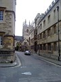 Merton College Chapel and Corpus Christi College as viewed from the Oriel Square entrance to Merton Street.