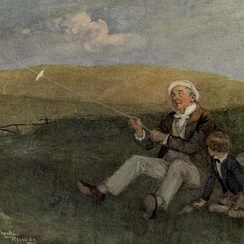 Mr Dick and his kite, from David Copperfield, by Frank Reynolds