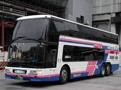 "A Mitsubishi Fuso Aero King arrived at Tokyo station as ""Dream-go"" in Japan"
