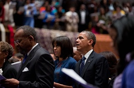 The Obamas attend a church service in Washington, D.C., January 2013.