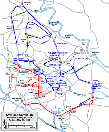 Movements in the Overland Campaign, May 29, and actions May 30, 1864