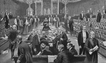 Passing of the Parliament Bill, 1911, from the drawing by S. Begg