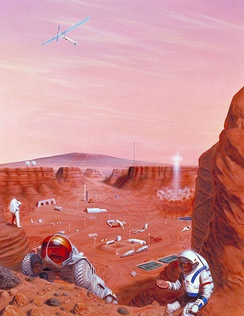 Various technologies and devices for Mars are shown in the illustration of a Mars base