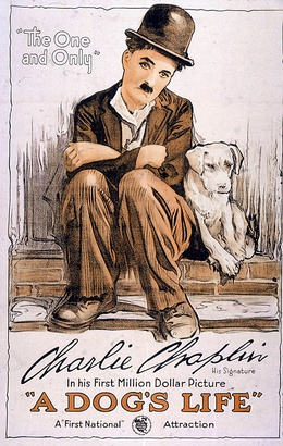 Poster for A Dog's Life (1918), Charlie Chaplin's first film under his $1 million contract with First National