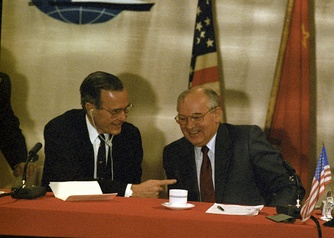 U.S. President George H. Bush and USSR leader Mikhail Gorbachev meeting in Valletta in 1988.
