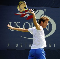 Gasquet after hitting a backhand at the 2009 US Open