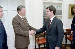 Roberts and President Ronald Reagan in 1983