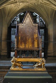 King Edward's Chair, in Westminster Abbey. Originally, the Stone of Destiny was kept in the gap beneath the seat; it is now held in Edinburgh Castle.