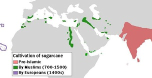 Map showing sugar cane India as the origin of the westward spread, followed by small areas in Africa, and then smaller areas on Atlantic Islands west of Africa